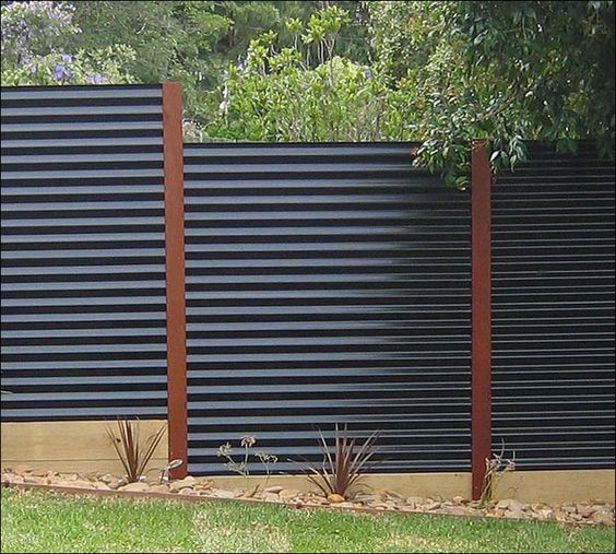 Diy corrugated metal fences for Horizontal metal siding